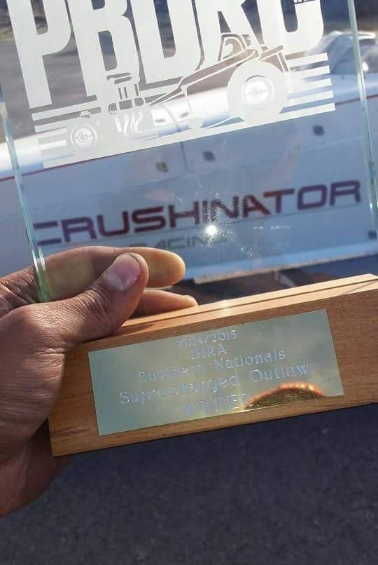 Graham Christison won Supercharged Outlaw in the Crushinator dragster