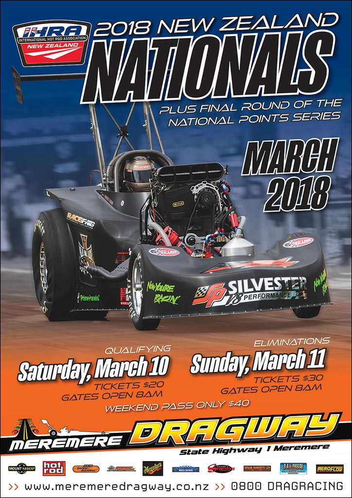2018 IHRA New Zealand Nationals poster.