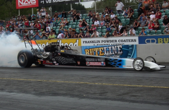 Top Fuel was the big draw card courtesy of Anthony Marsh and Reece Fish. Photo by Steven Ward